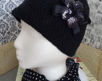 cc36c05fda2 Cloche Hat Crochet Beanie Black Sequin Flower