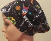 Women 39 s Surgical Cap, Scrub Hat, Chemo Cap, Puppy Sugar Skulls