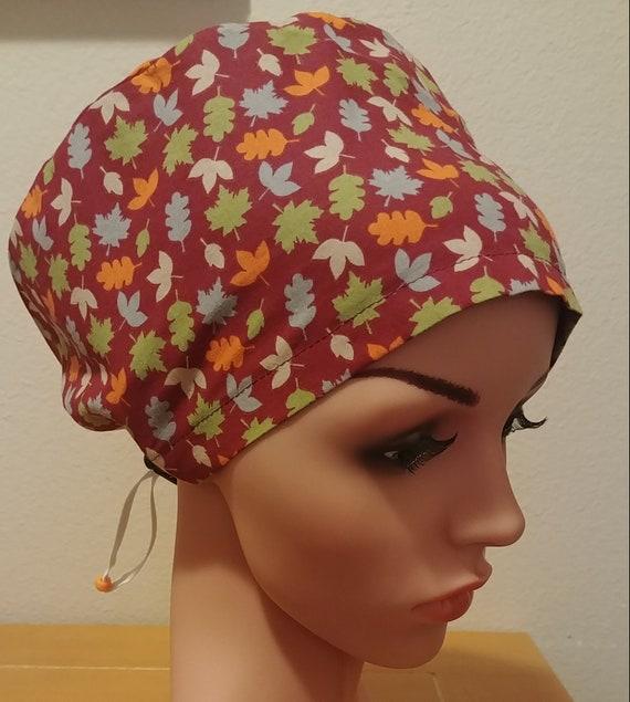 Women's Surgical Cap, Scrub Hat, Chemo Cap, Fall Leaves