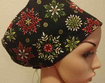 Women's Surgical Cap, Scrub Hat, Chemo Cap, Let it Snow