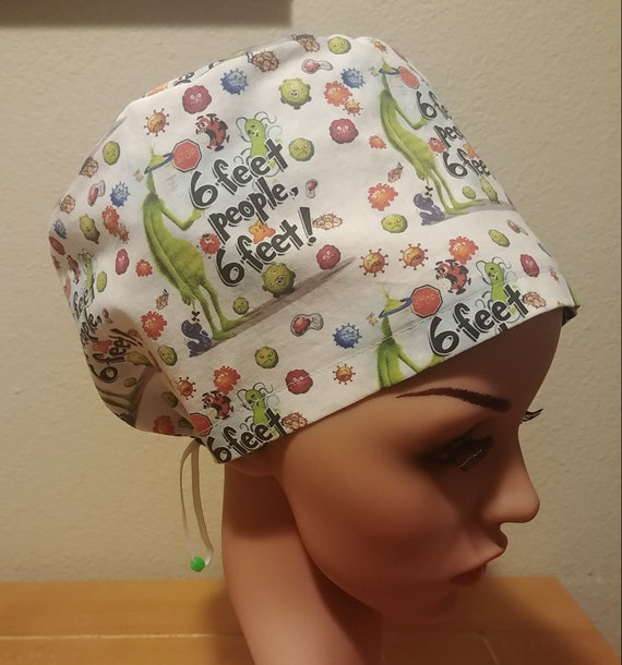 Women's Surgical Cap, Scrub Hat, Chemo Cap,  Grinch 6 feet People