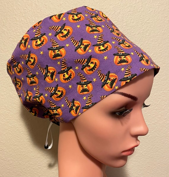 Women's Surgical Cap, Scrub Hat, Chemo Cap,  Mischievous Pumpkin
