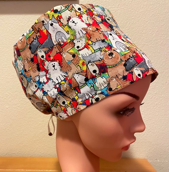 Women's Surgical Cap, Scrub Hat, Chemo Cap, Stacked Dogs