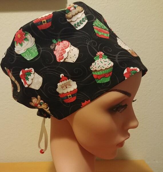 Women's Surgical Cap, Scrub Hat, Chemo Cap,  Christmas Cupcakes