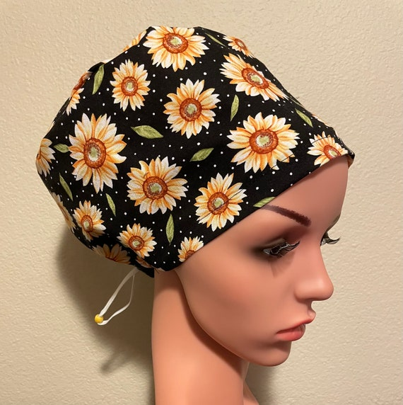 Women's Surgical Cap, Scrub Hat, Chemo Cap, Blue and Yellow flowers