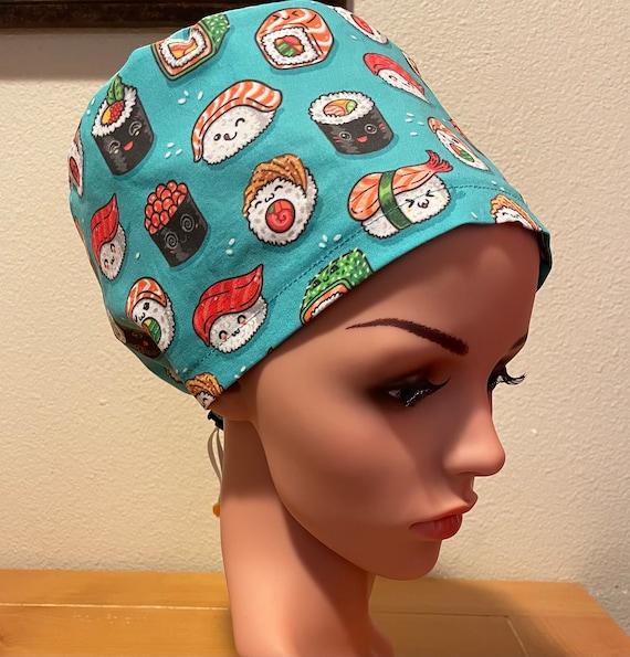 Women's Surgical Cap, Scrub Hat, Chemo Cap, California Roll