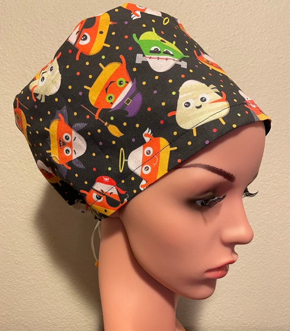 Women's Surgical Cap, Scrub Hat, Chemo Cap, Candy Corn
