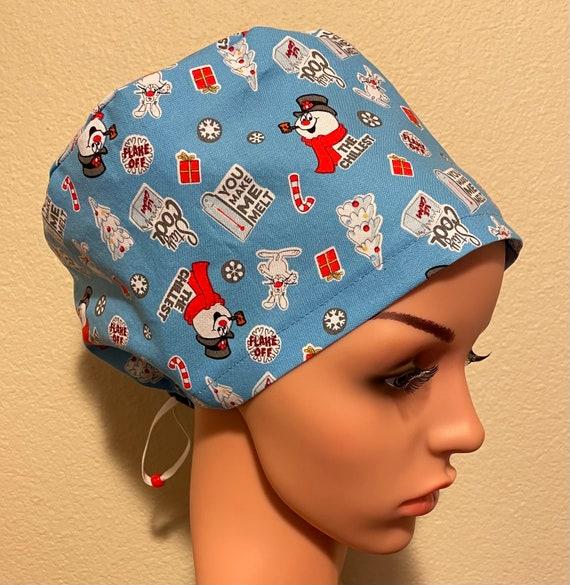 Women's Surgical Cap, Scrub Hat, Chemo Cap,  Frosty the Snowman