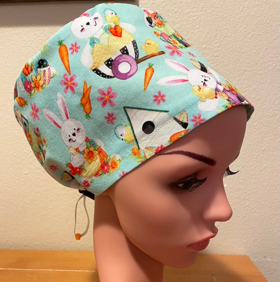 Women's Surgical Cap, Scrub Hat, Chemo Cap,  Peter Cottontail