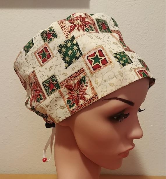 Women's Surgical Cap, Scrub Hat, Chemo Cap, Christmas Poinsettia