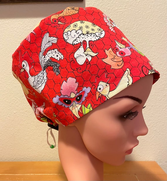 Women's Surgical Cap, Scrub Hat, Chemo Cap,  Classy Chickens