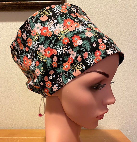 Women's Surgical Cap, Scrub Hat, Chemo Cap, Scattered Flowers on Black