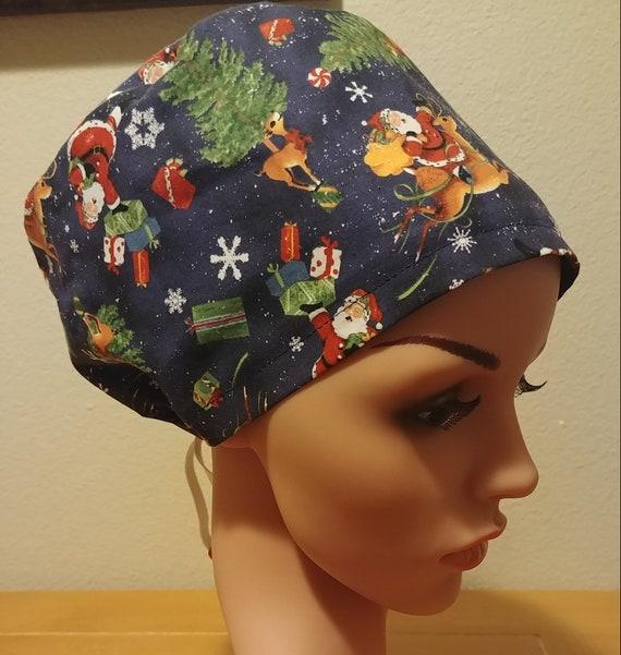 Women's Surgical Cap, Scrub Hat, Chemo Cap,  Christmas Eve Flight