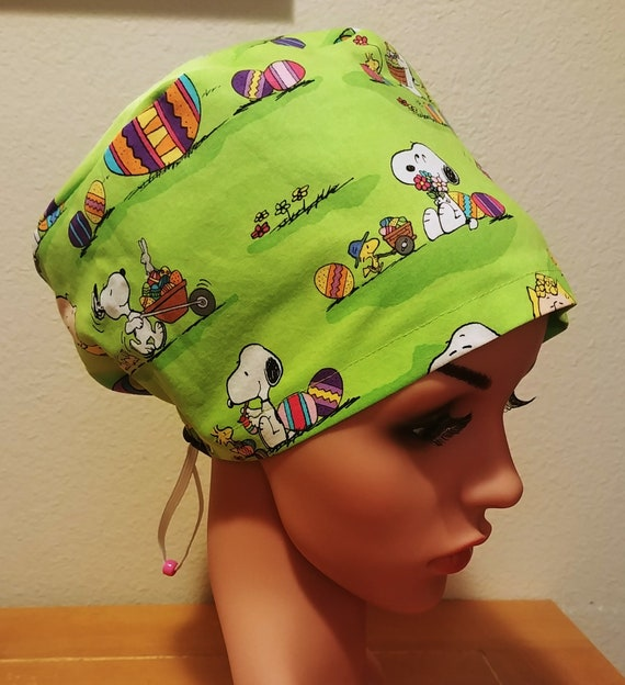 Women's Surgical Cap, Scrub Hat, Chemo Cap,  Peanuts Easter Parade