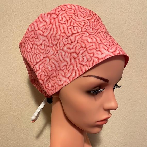 Women's Surgical Cap, Scrub Hat, Chemo Cap, Brains Brains Brains