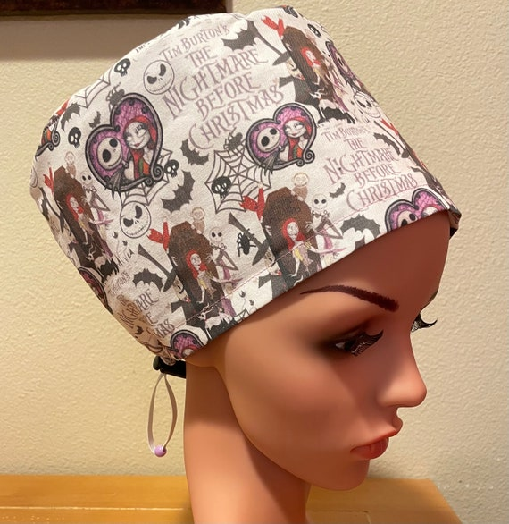 Women's Surgical Cap, Scrub Hat, Chemo Cap, Nightmare before Christmas
