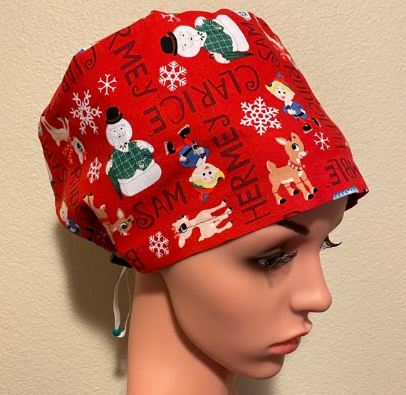 Women's Surgical Cap, Scrub Hat, Chemo Cap, Rudolph and Friends