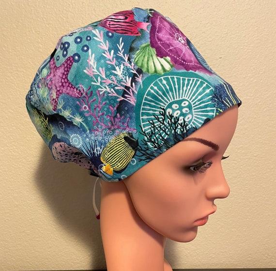 Women's Surgical Cap, Scrub Hat, Chemo Cap,  Underwater Corals and Sea Stars