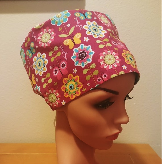 Women's Surgical Cap, Scrub Hat, Chemo Cap, Blooms and Butterflies
