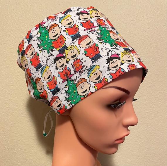 Women's Surgical Cap, Scrub Hat, Chemo Cap, Peanuts Christmas Choir