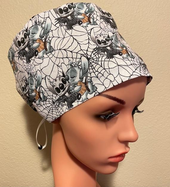 Women's Surgical Cap, Scrub Hat, Chemo Cap,  Skeleton Stitch