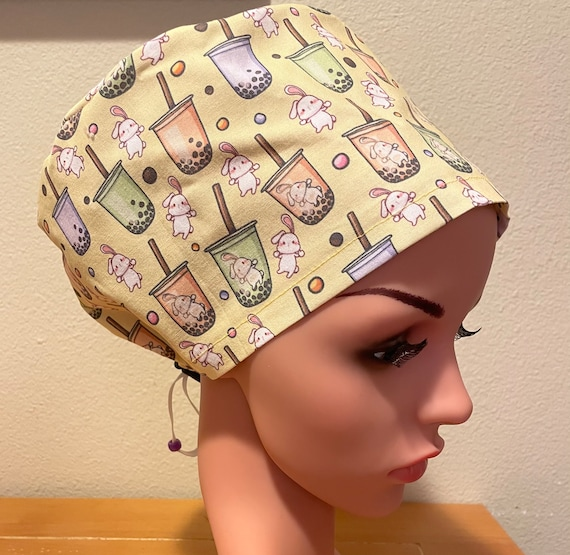 Women's Surgical Cap, Scrub Hat, Chemo Cap, Bubble Tea and Bunnies