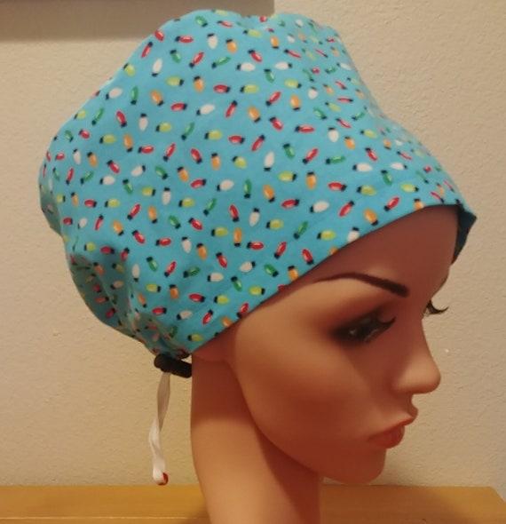 Women's Surgical Cap, Scrub Hat, Chemo Cap, Christmas Lights