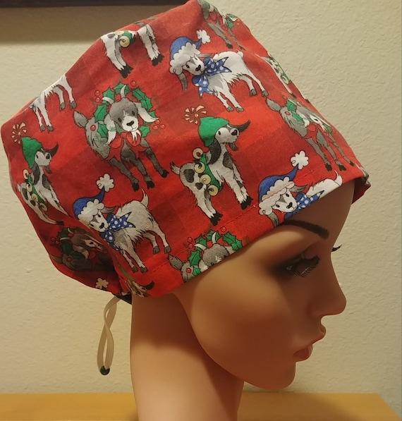 Women's Surgical Cap, Scrub Hat, Chemo Cap,  Christmas Goats