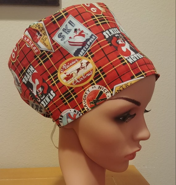 Women's Surgical Cap, Scrub Hat, Chemo, Christmas Patches