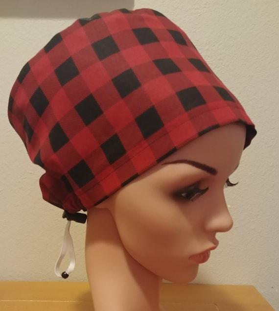 Women's Surgical Cap, Scrub Hat, Chemo Cap, Buffalo Plaid