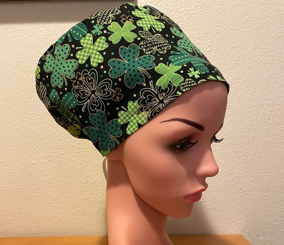Women's Surgical Cap, Scrub Hat, Chemo Cap, Shamrocks