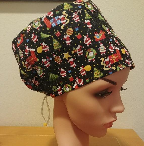 Women's Surgical Cap, Scrub Hat, Chemo Cap, Christmas Santa