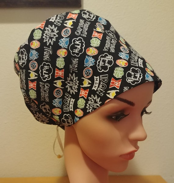 Women's Surgical Cap, Scrub Hat, Chemo Cap,  Marvel Characters
