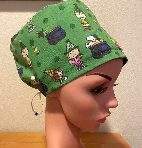 Women's Surgical Cap, Scrub Hat, Chemo Cap, Peanuts St. Patrick's Day