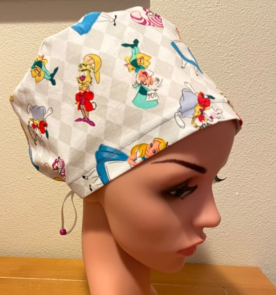 Women's Surgical Cap, Scrub Hat, Chemo Cap, Alice in Wonderland