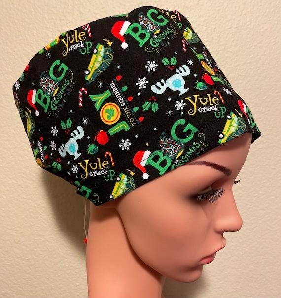 Women's Surgical Cap, Scrub Hat, Chemo Cap, Christmas Vacation