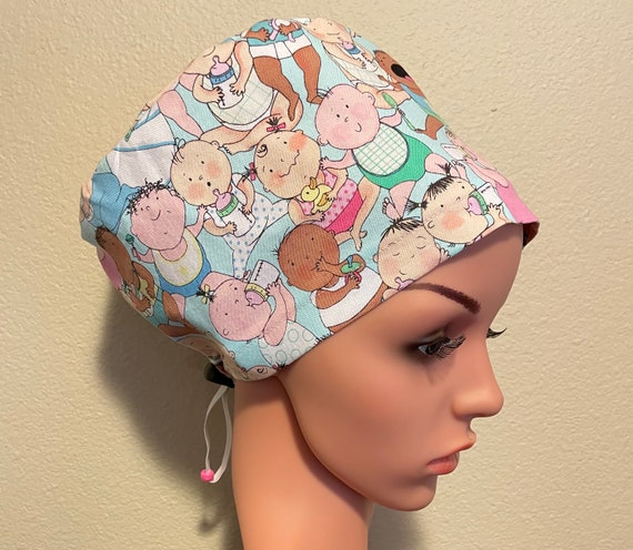 Women's Surgical Cap, Scrub Hat, Chemo Cap,  Cry Babies