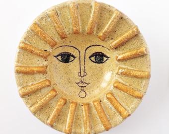 Mid Century Modernist ALFARAZ Art Pottery Spain Sunshine Bowl or Plate