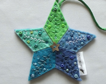 Star Decoration: Handmade, Felt, Christmas, Ornament, Christmas Tree Star, Christmas Tree Topper, Xmas