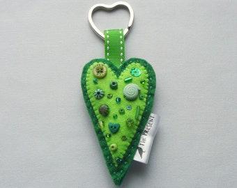 Heart Keyring - Heart Keychain, Love Heart, Heart Bag Charm, Handmade, Heart Key Fob, Heart Felt, Green Heart