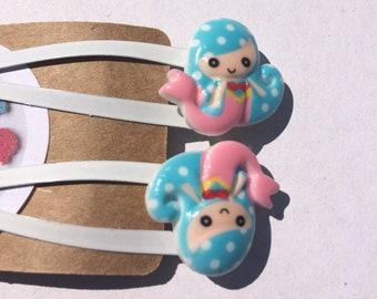 Hair Slides Cupcakes Hair Slide Grip Clip Set Gift Girls Novelty Pink Blue White