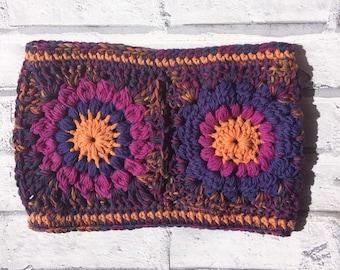 Orange pink and purple crochet cowl, neckwarmer, snood, sunburst granny square, uk seller