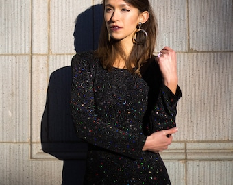 Black Sparkly Mini Swing Dress