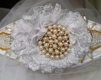 Belt bridal dress, belt wedding belt jewelry white and gold belt with pearls, belt, Bridal, wedding accessory bridal dress