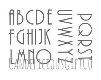 Art Deco Font Alphabet Stencil Letters Retro classic 1920's  Craft  Reusable 190 Mylar Upcycle Walls Furniture Cards Signs Fabric Cakes