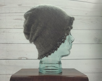100% Pure Alpaca Adult Slouchy Hat with scalloped edge