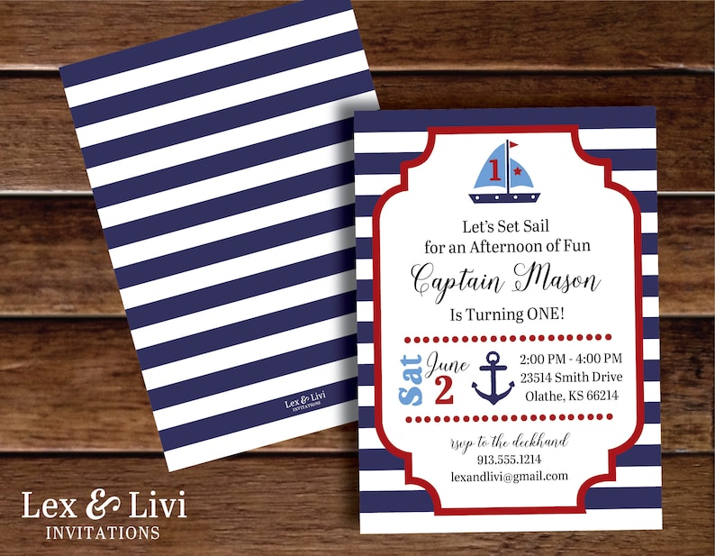 Nautical Birthday Invitation First Boat Invitations