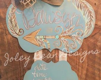 Arrow & Feathers Baby Hospital Door Hanger