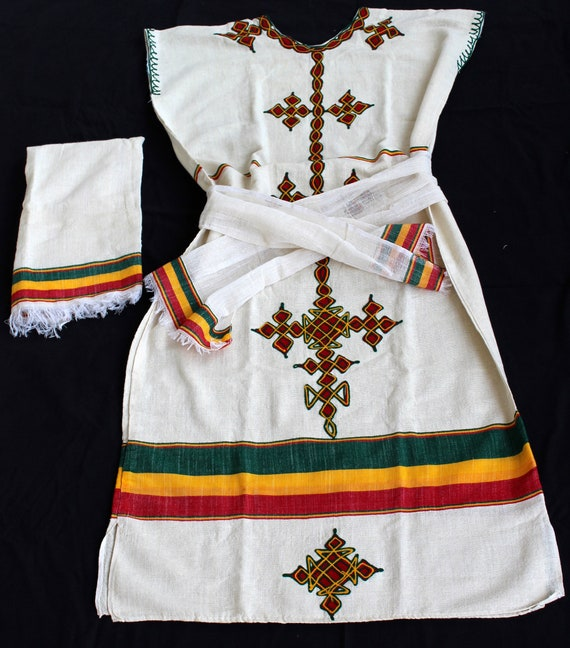 Ethiopian Dress Traditional Gondar Eskista Dance Clothing