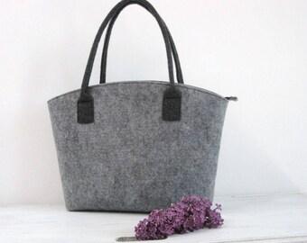 50% OFF, bag  in Grey,  Felt tote bag, Elegant and Casual, Felt Bag, Tote Shoulder Bag, Shopping, Bag Handbag, Storage Bag